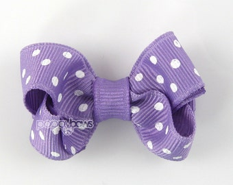 Small Hair Bow 2 Inch in Light Purple Polka Dot - Toddler Hairbow Non Slip Alligator Clip - for Baby Girls