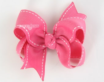 Saddle Stitch Pink Hair Bow - hot pink hair bow, girls hair bows, toddler hair bow, baby hair bow, stitched side stitch 3 inch hair bow 3""