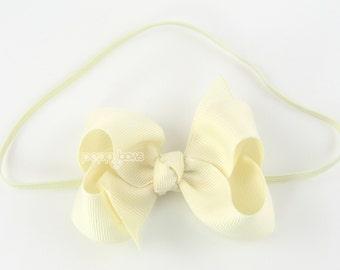 "Baby Headband, ivory headband, toddler headband, 3"" 3 inch bow headband, newborn headband, infant headband, skinny elastic girls headband"