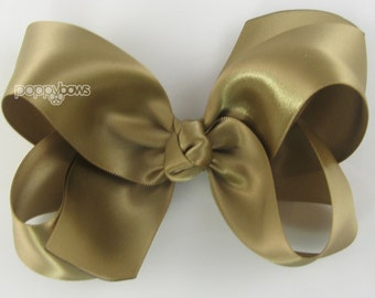 "Girls Hair Bow - 4 Inch Satin Hair Bow - Old Gold satin hair bow - toddler hair bow - baby girls hairbow - big hair bow 4"" boutique bows"
