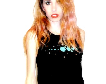 Black and Mint Green SOLAR SYSTEM with Rhinestones Screenprinted Muscle Tee // Crop Tank Top Available in Sizes XS, Small, Medium, Large