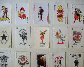 instant collection of 21 vintage JOKER playing cards | Joker card | vintage clowns | jokers | vintage playing cards | Joker | vintage Joker