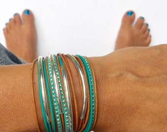 bracelet triple wrap boho bracelet in turquoise and camel brown with silver accents. magnet or lobster clasp. bohemian jewelry.