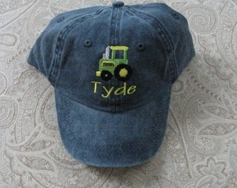 Toddler Kids Baseball Hat Farm Tractor Design Baseball Hat Custom Embroidered Kids Baseball Cap