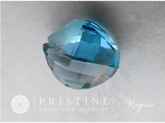 Blue Topaz Briolette for Pendant November Birthstone Gemstone for Jewelry