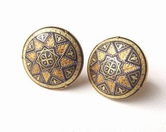 Vintage Damascene Metal Clip On Earrings Oxidized Steel Domed Discs w/ Applied Gold Leaf Moorish Design Set in Gilded Fittings Prob. Spanish