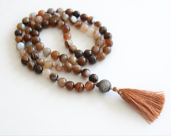 Agate Hand Knotted Necklace Boho Necklace Long Beaded Necklace Knotted Mala Silk Tassel Necklace CZ Diamond Pave Bohemian Jewelry
