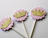 Pink and Gold Crown Cupcake Toppers, Gold Crown Toppers, Crown Birthday Toppers, Princess Cupcake Toppers