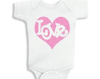 Love Inside Glitter Pink Heart Valentines Baby bodysuit