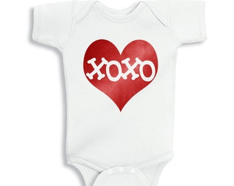 XOXO Inside Electric Red Heart Valentines Baby White bodysuit