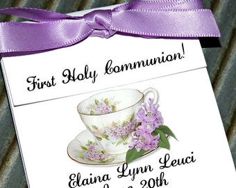 Personalized  Dainty Lilacs Floral Teacup Tea Party Favors perfect First Holy Communion Favors or Baptism ~ Lavender Tea cup Tea Bag Holders
