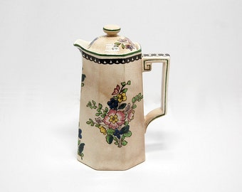 1916 Royal Doulton 597783 Mini Coffee Pot Octagonal Old Leeds Sprays Brown Scallops Handpainted 100 Year Old Early 20th Century Shabby Chic