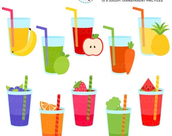 Fresh Smoothies Clipart Set - clip art set of fruit drinks, vegetables, fruit juice - personal use, small commercial use, instant download