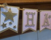 Twinkle Twinkle Little Star Gold Glitter Birthday Banner, Pink and Gold Glitter Flag banner, 1st birthday birthday banner,