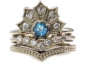 Swiss Blue Topaz and Diamond Art Deco Crown Engagement Ring Set - 14k White Gold Stacking Rings