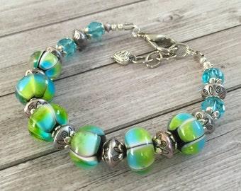Turquoise blue  lampwork bracelet,beaded art glass bracelet, lampwork glass beads,lampwork jewelry,artisan bracelet handmade lampwork