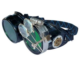 Victorian Steampunk goggles aviator victorian welding biker eye cup--bbb green1