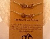 Partners in Crime Bracelets: Partners in Crime Friendship Bracelets, Handcuff Charm, Best Friends, Partners in Crime, Handcuff Charm