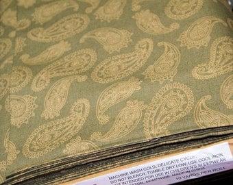 Tan Khaki Sage Green Paisley Print Bulk Wholesale Fabric - 100% Cotton - - MTCoffinz