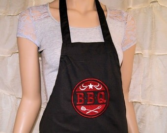 BBQ Logo Embroidered Black Apron MTCoffinz - Ready to Ship