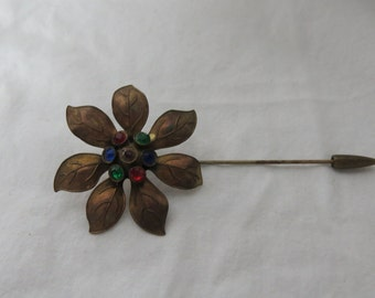 Beautiful Vintage  Multi Colored Stones Stick Pin