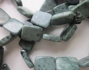 Green Jasper Rectangle Beads 16x12mm 12 Beads