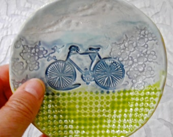 Bicycle dish, ring bowl, ring dish holder, blue green, ceramic ring dish, cycling, ceramic bowl, spoon rest, jewelry dish, teabag holder