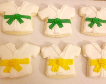 Karate Sugar Cookies - karate cookies- karate gifts - karate birthday - karate favors - decorated cookies - karate birthday party - karate