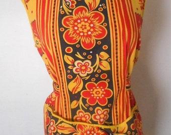 Vintage 1960s MARJON OF CALIFORNIA Red/Yellow/Black Bold Floral Print Apron