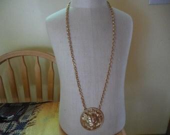Vintage 1960s to 1970s Large Lion Head Gold Tone Necklace Napier Thick Chain Long 3D Like Large Statement Piece