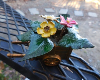 Vintage 1960s to 1970s Enamel Flowers Gold Tone Wagon Metal Yellow/Pink/White Leaves