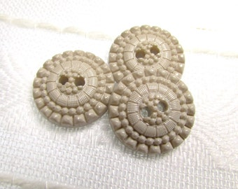 "Fancy Taupe: 3/4"" (19mm) Textured Buttons - Set of 3 Matching Buttons"