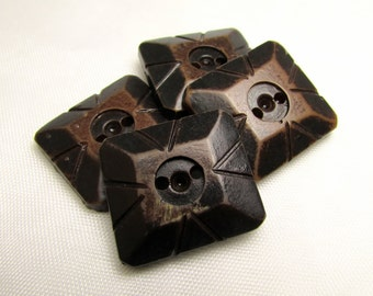 """Rustic, Still Rugged: 15/16"""" (24mm) Carved Brown Buttons - Set of 4 Vintage Buttons"""
