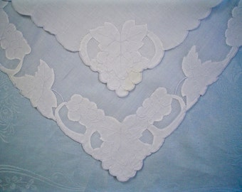 Vintage Madeira Place Mats and Napkins Set Embroidered Linen and Organdy with Grape Applique
