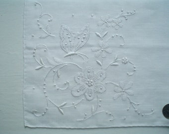 New Linen Hankie with Butterfly Applique Unused Vintage Handkerchief with Gerbrend Label