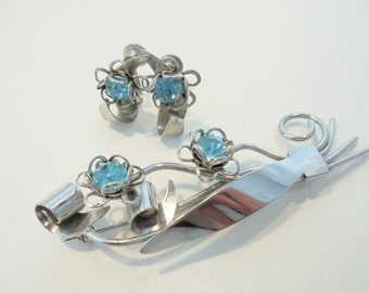 Vintage Glass Rhinestone Flower Brooch / Earrings Set / Lot Blue / Green Screwback Retro Deco 1960's Statement Runway