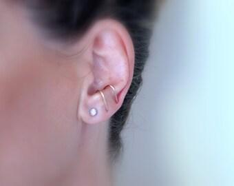 Thin suspender earring, 14k Goldfilled ear suspender earring, Delicate suspender earring for her, Minimalist earrings