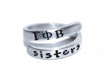 Sorority Sister Wrap Ring. Custom Hand stamped ring. Personalized Sorority Ring. Sorority Jewelry. Big Little Sorority gift.