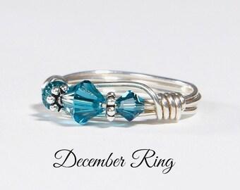 December Birthstone Ring: Handmade Sterling Silver December Birthstone Ring made with Blue Zircon Swarovski Crystals. Birthday gift for her.