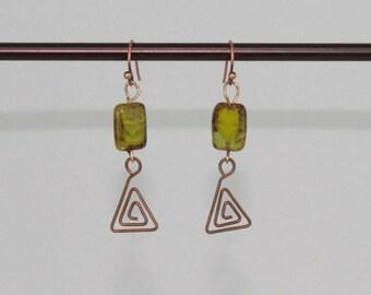 Green Czech Glass Earrings.  Green and Copper Earrings.  Pyramid Dangle Earrings