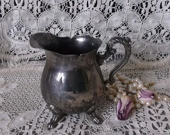 Vintage metal creamer cup, French Country Cottage, patina metal silver