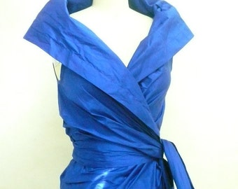 Maria Severyna royal blue Silk Dupioni Wrap Dress