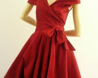 Custom Made  MARIA SEVERYNA Double Wrap Full Skirt Dress 1950s style cocktail dress - Mother of the Bride Dress - available in many colors