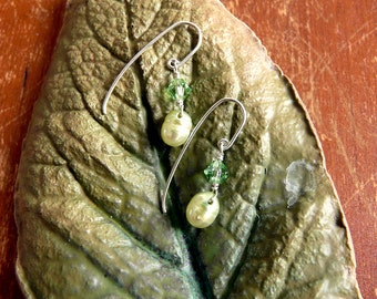 Silver, Pearl & Crystal Earrings
