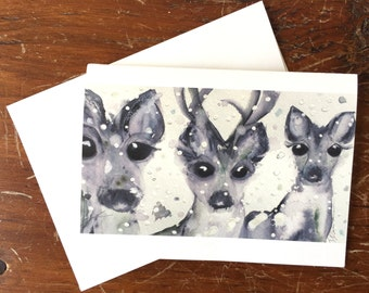 Holiday Greeting Cards, Set of Six Christmas Cards, Snowy Deer Watercolor
