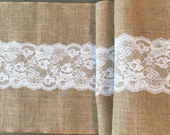 Butlap and Lace Table Runner, Center Lace Burlap Table Runner