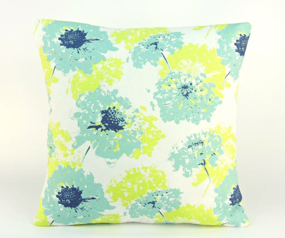 Spa Blue Lime Green Throw Pillow Cushion Covers ALL by SeamsToMe23