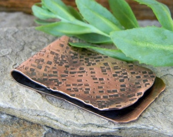 Hammered copper moneyclip Fathers Day Gift metal work handmade distressed rustic copper 7th anniversary gift graduation metalwork money clip