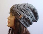 ON SALE Slouchy Beanie Gray Hat - Crochet Slouch Beanie Womens Grey Beanie Hipster Hat - Gray Slouchy Beanie - Fall Apparel - Vegan Hat