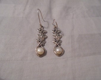 Sterling Silver and Pearl Floral Drop Earrings